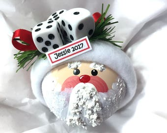Santa Bunco Christmas Ornaments Hand Painted White Glass Handmade Personalized Themed by Townsend Custom Gifts - BR