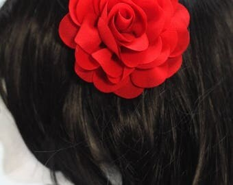 FLASH SALE Red Chiffon Rose Hair Flower Clip