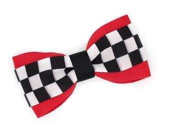 Checkered Flag Grosgrain Hair Bow