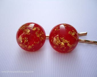 Vintage earrings hair pins - Cherry red gold flakes resin simple unique shiny smooth cabochon fun girl embellish decorative hair accessories