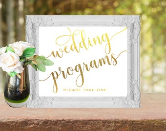 Wedding sign Wedding programs instant download - Printable programs sign Gold Wedding programs please take one sign Gold calligraphy