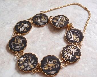Amita Damascene Bracelet Japanese Metalwork 7 Inch Vintage V0933