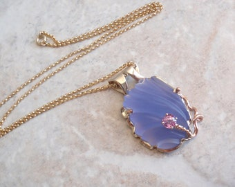 Blue Chalcedony Necklace Carved Pink Sapphire 14k Gold Artisan Made