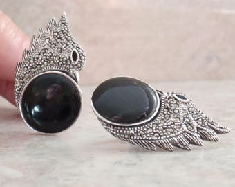 Onyx Bird Earrings Sterling Silver Italy Marcasites Clip On Vintage RC0163