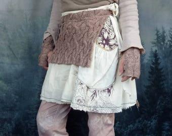 Ancestors Apron, hand-knitted, pure Shetland wool, layered look, Scottish