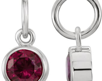 Imitation Birthstone Charm Add-On - 14k Rose, Yellow, White Gold OR Sterling Silver.