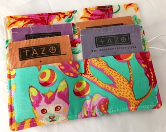 Tea Wallet - Tea Bag Wallet Tea Bag Case Tea Bag Holder Tea Holder - Tea Bag Cozy  Tea Bag Organizer Tula Pink Kitty in Strawberry Fields