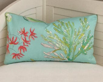 Coastal Pillow in Blues, Greens and Coral Pillow Cover with Tiny Piping  - Square, Lumbar and Euro Sizes