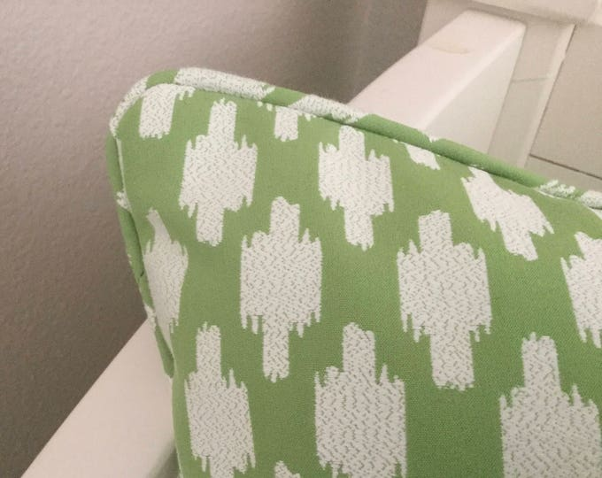 Thibaut Troy Designer Pillow Cover with or without Piping - Square, Lumbar and Euro Pillow Cover Sizes, Green and White Pillow Cover