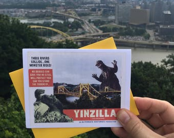 Pittsburgh, Yinzilla, Greeting Cards, Pittsburgh Card, Pittsburgh Art, Monsters, Alternate Histories, Pittsburgh Gifts