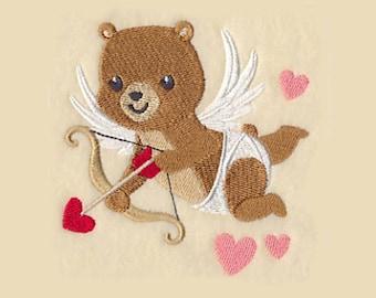 Cupid Bear Tea Towel | Embroidered Kitchen Towel | Personalized Kitchen Towel | Embroidered Towel | Embroidered Tea Towel | Valentines Day