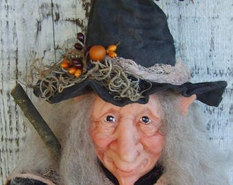 Polymer Clay halloween Witch with Hat and Broom