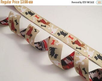 ON SALE Dogs and Bones on Beige Polyester Jacquard Ribbon--One Yard