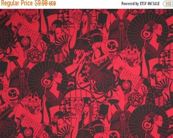 ON SALE Dark Red and Black Japanese Geishas Anime Print Pure Cotton Fabric--By the Yard
