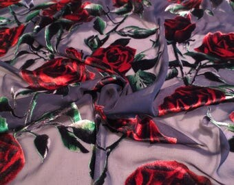 Luscious Velvet Rose Print on Sheer Black Burnout Polyester and Rayon Fabric--By the Yard