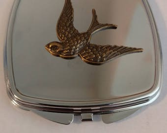 Rockabilly Swallow Double sided compact mirror.