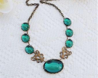Emerald Choker, Emerald Necklace, Art Deco Necklace, Emerald Art Nouveau Necklace, Emerald Crystal Choker, Estate Jewelry, Green Necklace