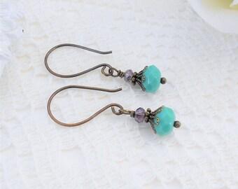 Small Turquoise Earrings, Petite Earrings, Vintage Inspired Earrings, Small Dangle Earrings, Turquoise Glass Earrings, Blue and Purple