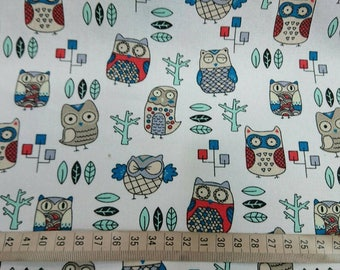 """Smart owls - 1 yard - cotton linen - 3 colors - fabric ,forest, cute, Check out with code """"5YEAR"""" to save 20% off"""