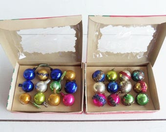 Vintage Christmas Ornaments, Feather Tree Glass Bulbs,  Made in Japan, Christmas in July,
