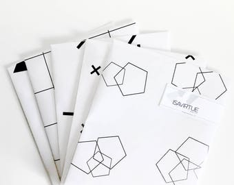White gift wrap set: black and white modern geometric wrapping paper, pentagons, triangles, swiss cross, grid, lines