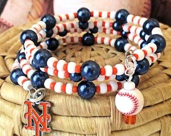 Mets Inspired Bracelet NY Mets Logo Baseball Charm Glass Memory Wire Orange Blue White New York Baseball Fan Jewelry / One Size Fits Most