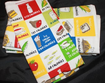 Old Navy Calorie Counters Napkins- Vintage Cloth Napkins- 100% Cotton- Calorie Counters by Old Navy- Set of 4