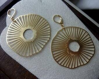 Raw Brass Flower Earrings, Large, Bold Earrings, Statement Earrings, Big Earrings