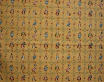 Beatrix Potter characters on yellow by Quilting Treasures ( BTHY )