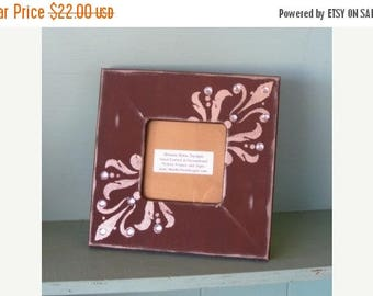 Fun Friday Sale Picture Frame in Chocolate Brown with Champagne side Scrolls and Jewels
