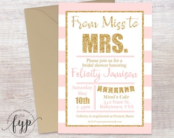 PINK and GOLD Bridal Shower Invitation, Engagement Party Invitation, Engagement Invite, Bachelorette Party, Bridal Invite, Bride To Be