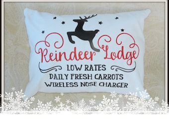 Reindeer Lodge, Christmas in July, Holiday decor, holiday hostess gift, Holiday housewarming