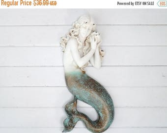 ON SALE Mermaid Wall Plaque / Mermaid Sculpture / Mermaid Wall Decor / Coastal / Beach House