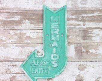 ON SALE Aquamarine / Mermaid Decor / Mermaid Sign / Coastal / Nautical / Beach Decor / Welcome Sign