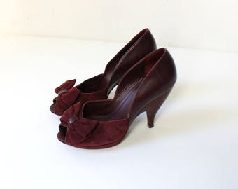Vintage Peep Toe High Heels with Bows // DKNY Merlot Suede and Leather Pumps // Womens Shoe Size 7 // Size 37