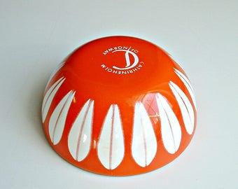 Cathrineholm Lotus  Bowl Orange with White 4 Inch Norway Signed Vintage Mid Century