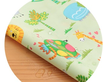 Wide Dual Waterproof Polyester Fabric By the yard  'Zoo ' (width 59 inches) 90335