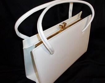Spring White Vinyl Mastercraft Vintage 1950's Women's ROCKABILLY Handbag Purse