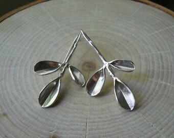 Large Leaf Branch Silver Statement Earrings In Nature Handmade Long Drop Earrings