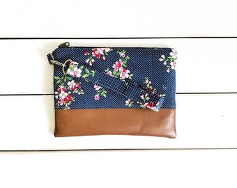 FUNKY FLORALS COLLECTION Vintage Navy Dots Mommy Clutch - Wallet Clutch - Small handbag - Blue - Wristlet