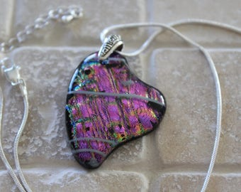 Heart pendant,  dichroic glass heart pendant, fused glass heart pendant, heart, fused glass, heart glass pendant, Valentine's Day heart