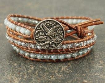 Butterfly Jewelry Pale Turquoise Silver Butterfly Bracelet Shabby Boho Chic Triple Leather Wrap Bracelet