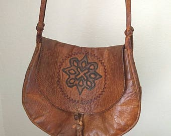 1960s Era Bohemian Leather Tassle Hobo Bag Hammered Leather Design Leather Stitching
