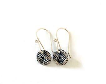 Linear Earrings   Geometric Earrings   Tiny Silver Earrings
