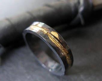 Man Wedding Band Rustic Wedding Band Man Wedding Ring Oxidized Ring Gold Black Ring Rustic Ring Unique Wedding Ring OOAK Ring Artisan
