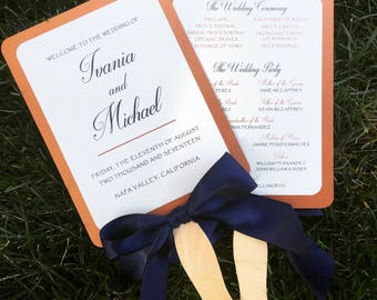 Wedding Program Fan | front and back | fan program with ribbon bow