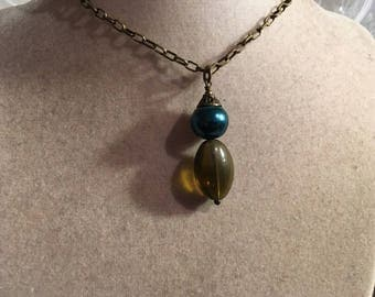 Brass Necklace - Teal & Brown Pendant Jewelry - Fashion Jewellery - Unique  - Trendy