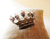 Vintage ACCESSORCRAFT Crown Brooch, Silver Tone Pin, Scatter Pin, 1970's Silver Brooch, Lapel Brooch, Royal Crown Pin