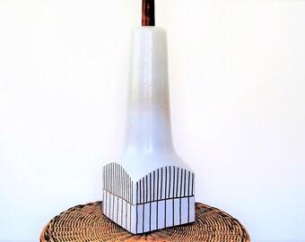 Mid century Martz Marshall Studio Art pottery table lamp/ mid century designer lamp/stone white/signed