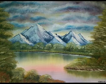 OIL PAINTING 20x24 Blue & Pink Sunset Mountain River Landscape Painting Trees